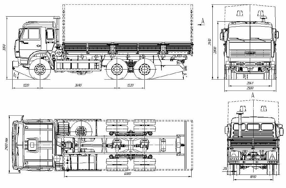 размеры КАМАЗ 53215